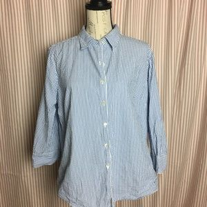 L.L. Bean Cotton Seersucker Blouse Size L